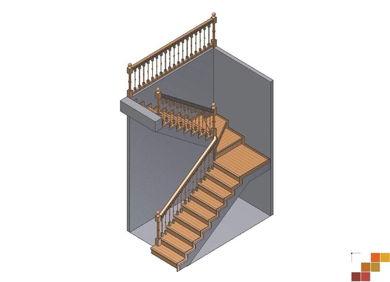 196Лестница лестница с поворотом 90 градусов