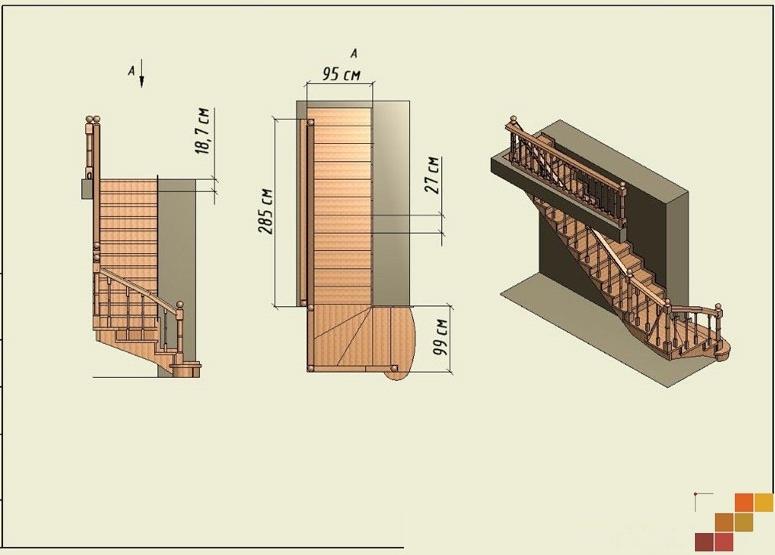 Деревянные лестницы с поворотом своими руками