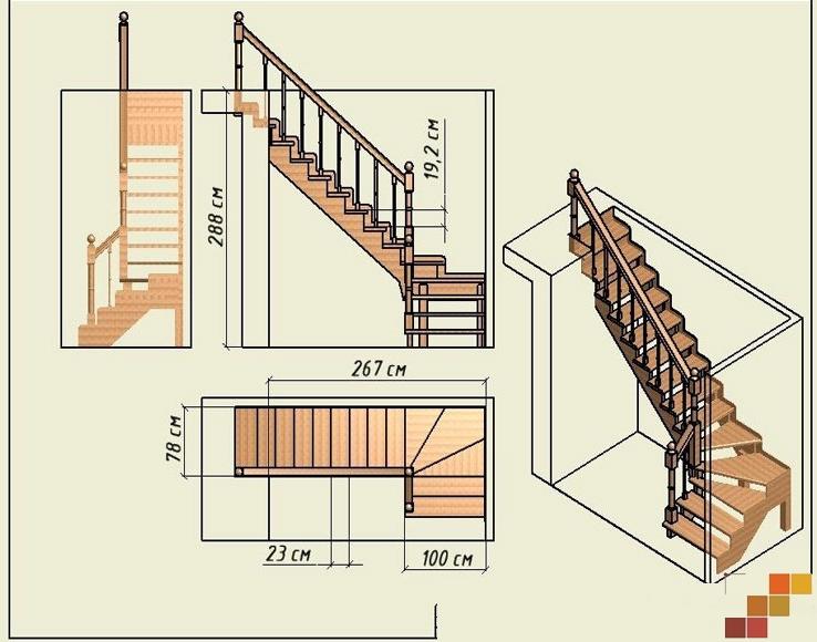 85Лестница лестница с поворотом 90 градусов