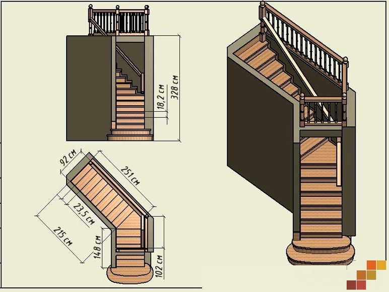 Лестница своими руками с поворотом на 90 527