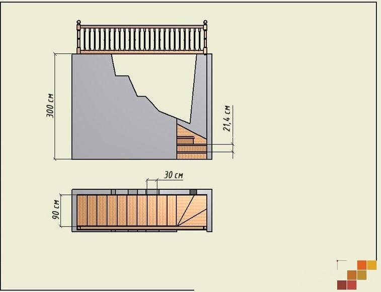 Лестница своими руками с поворотом на 90 887
